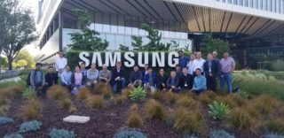Prof. Teunissen and his students in front of the Samsung building in San Jose